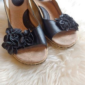 Born Concepts Slingback Black Leather Wedge